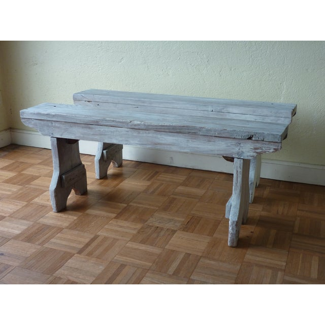Amazing French Rustic Benches A Pair Andrewgaddart Wooden Chair Designs For Living Room Andrewgaddartcom