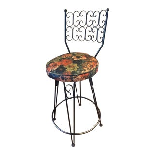 Vintage Mid Century Arthur Umanoff Grenada Wrought Iron Swivel Barstool For Sale