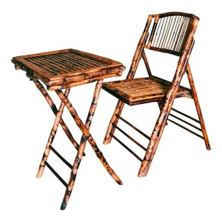 Vintage Burnt-Tortoise Bamboo Folding Chair & Tray