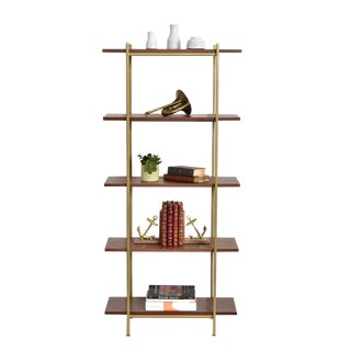 "Walnut & Gold Wall Unit- 30"" For Sale"