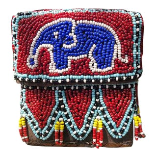 Vintage Red Elephant Indonesian Hand Beaded Basket With Lid For Sale