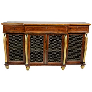 Late Regency Rosewood and Gilt/Ebonized Credenza For Sale