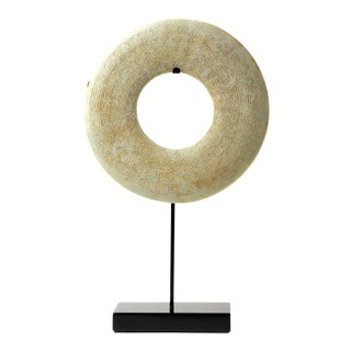 Carved Chinese Jade Disc on Stand For Sale