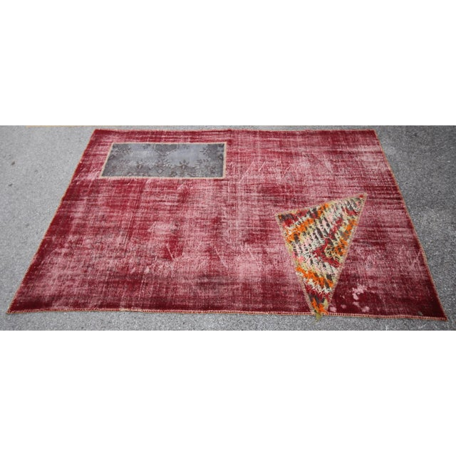 Islamic Vintage Turkish Overdyed Patchwork Oushak Distressed Rug - 6′9″ × 10′ For Sale - Image 3 of 6