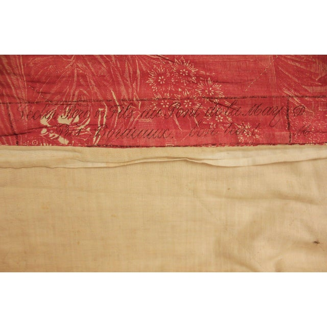 Antique French Toile l'Art d'Aimer Chef De Piece Bordeaux Coverlet For Sale - Image 6 of 12