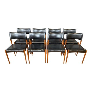 Set of Eight Villy Schou Andersen Model 60 Teak Dining Chairs, 1960s For Sale