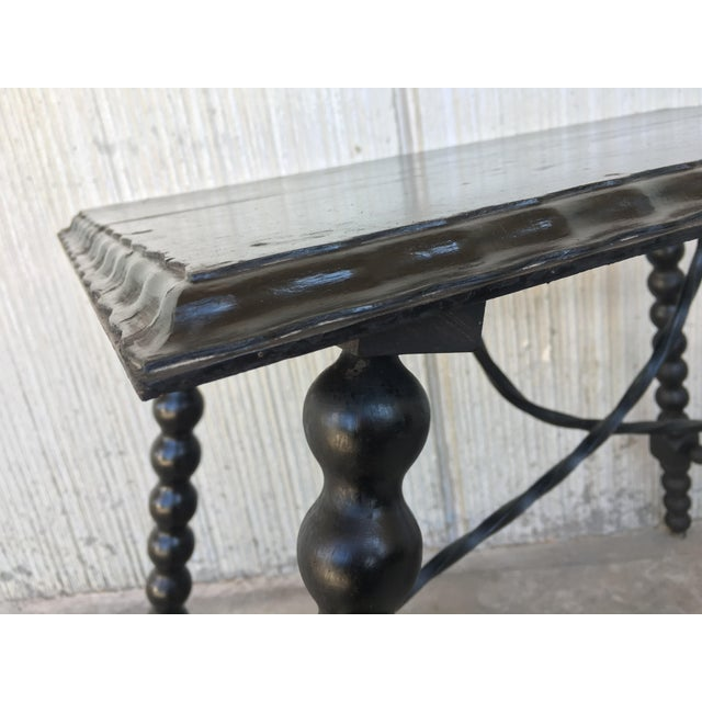 Metal 19th Century Spanish Side Table With Iron Stretcher, End Table For Sale - Image 7 of 11