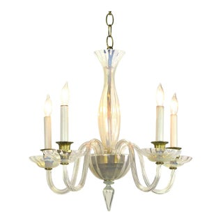 Murano Opaline Glass Five Arm Empire Style Chandelier For Sale
