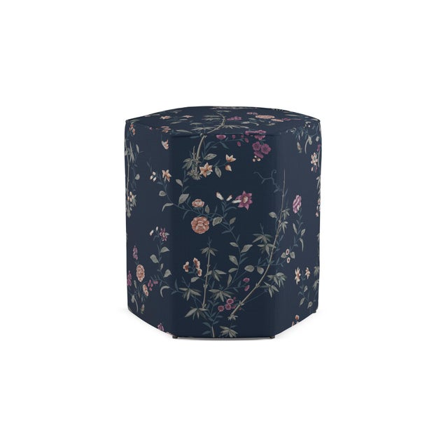 Traditional Hexagonal Ottoman in Navy Bamboo Garden For Sale - Image 3 of 3