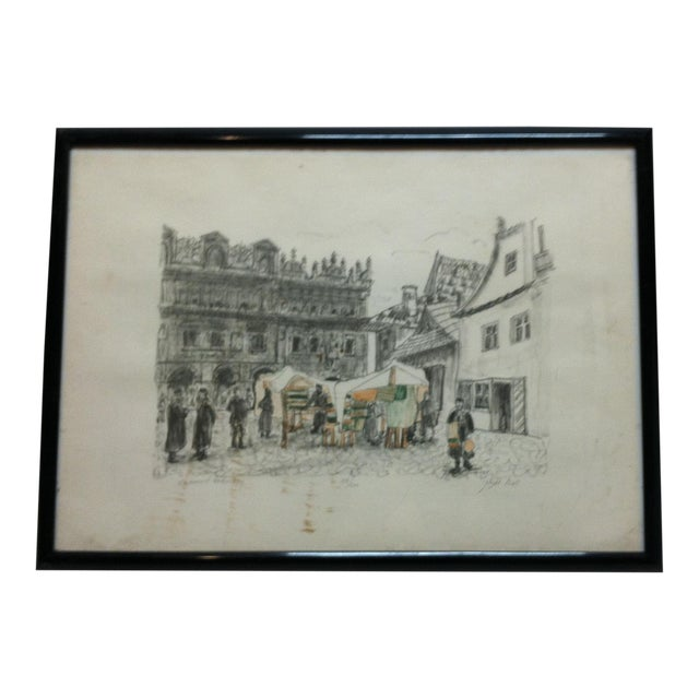 """""""Town Market"""" Limited Edition Signed (114/200) Framed Print by Shemuel Wodnitzky For Sale"""