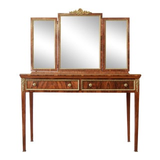 Antique French Rosewood Louis XVI Style Vanity With Mirror