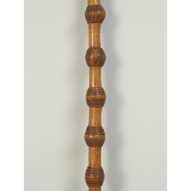 French Folk Art Walking Stick or Cane Carved from One Solid Chunk of Wood For Sale In Chicago - Image 6 of 9