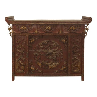Asian Chinese Red Lacquered and Gilt Carved Console Alter Table For Sale