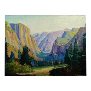 "James Arthur Merriam ""California Yosemite Mountain Landscape"" Oil Painting For Sale"