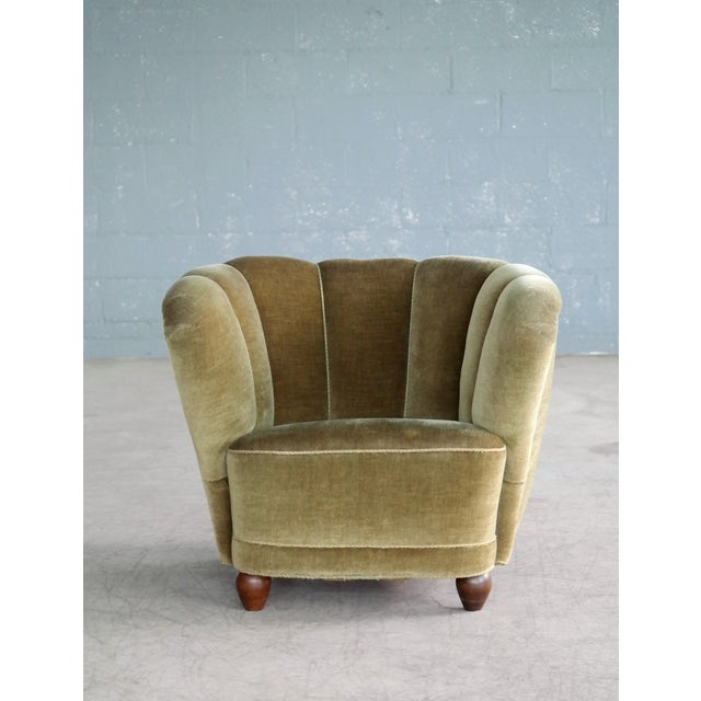 Danish 1940s Viggo Boesen Style Club Chair in Beech and Mohair For Sale - Image 10 of 10