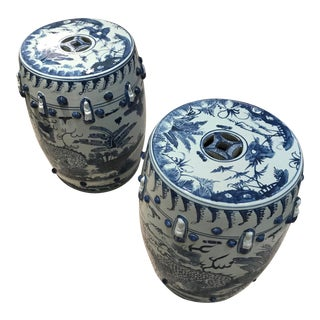 Modern Asian Blue and White Garden Stools- a Pair For Sale