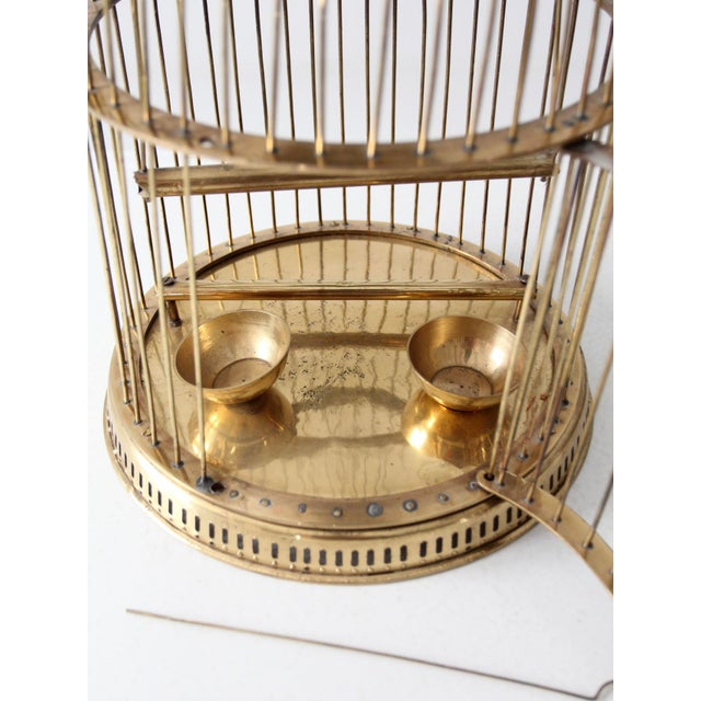 Gold Vintage Brass Bird Cage For Sale - Image 8 of 10