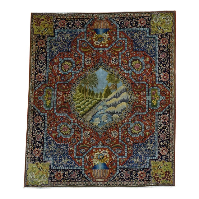 Antique Persian Tabriz Pictorial Rug- 4′7″ × 5′4″ For Sale