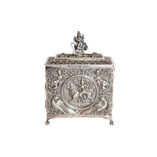 Mid 19th Century Silver Plated Box From Siam For Sale