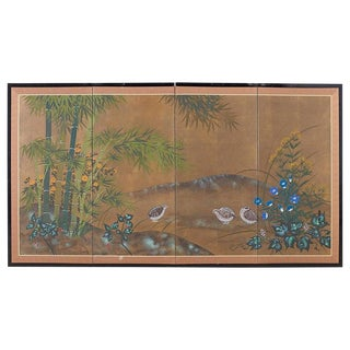 Japanese Four Panel Screen Quail in Flower Bamboo Landscape For Sale