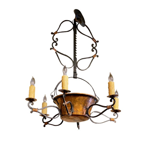 19th Century French Iron and Copper Pot Fixture For Sale