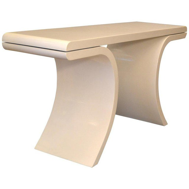 Hollywood Regency White Lacquer Console Table With Curved Legs For Sale - Image 11 of 11
