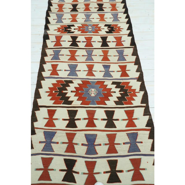 "Art Deco Vintage Turkish Kilim Runner-3'5'x10'11"" For Sale - Image 3 of 13"