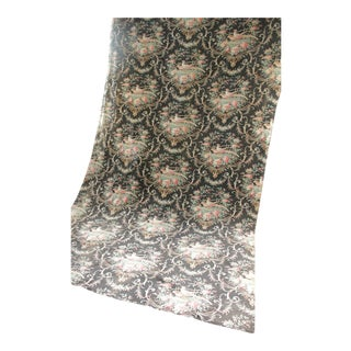 "Antique French Black Floral Drape Curtain Panel - 10'5"" x 5'5"" For Sale"