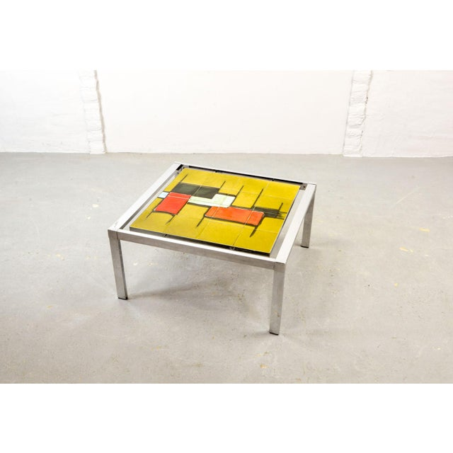 Abstract Mid-Century Abstract Design Ceramic Side Table With Chrome Frame, 1970s For Sale - Image 3 of 11