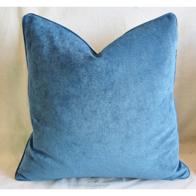 """Early 21st Century Blue & White P. Kaufmann Aviary Bird Toile Feather/Down Pillow 24"""" Square For Sale - Image 5 of 6"""