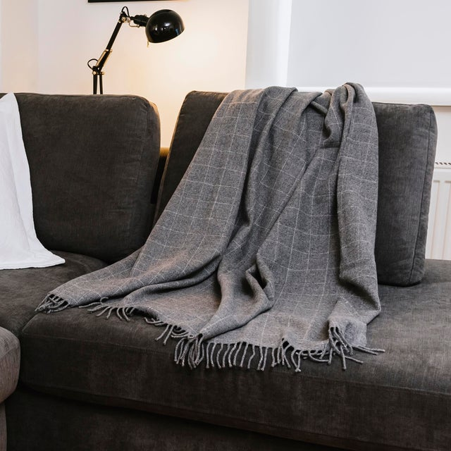2010s Contemporary Classic Graphite Wool Windowpane Throw For Sale - Image 5 of 6