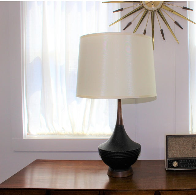 Mid-Century Modern Black Ceramic Table Lamp