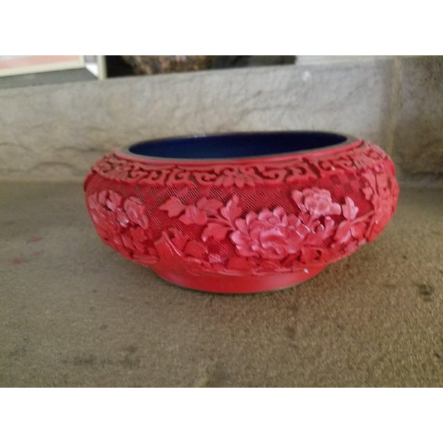 Chinese Hand Carved Cinnabar Red Bowl For Sale In Los Angeles - Image 6 of 7