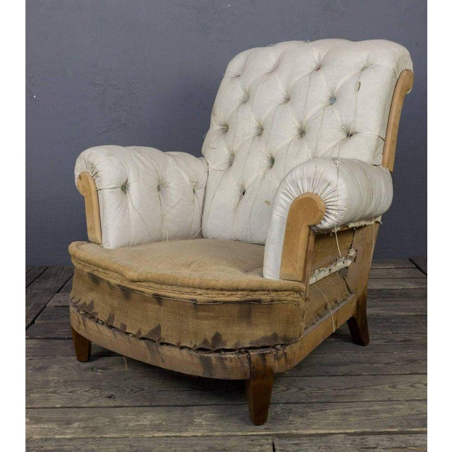 Large Tufted Armchair & Ottoman For Sale In New York - Image 6 of 9