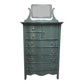 19th Century Shabby Chic Blue Oak Gentlemen's Chest For Sale