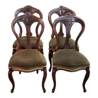 Set of Four French Provincial Walnut Dining Chairs C.1920 For Sale