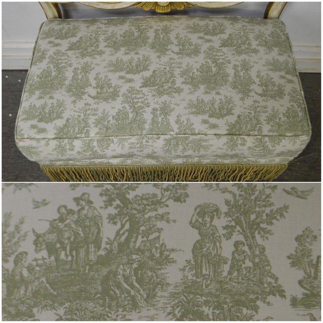 Antique Italian Painted & Upholstered Foyer Settees Benches - A Pair For Sale - Image 5 of 10