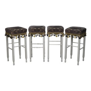 White Bar Stools w/ Upholstered Seats - Set of 4 For Sale