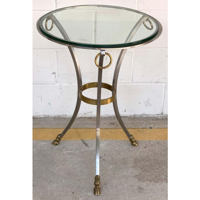 Silver Maison Jansen Neoclassical Steel and Brass Gueridon For Sale - Image 8 of 11