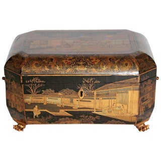Antique Chinese Chinoiserie Sewing / Work Box For Sale