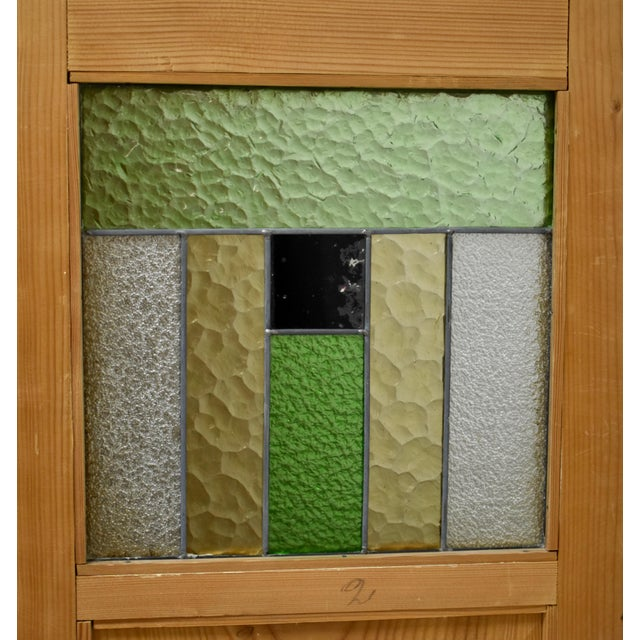 Pine Two Door Armoire With Art Glass Panels For Sale - Image 12 of 13