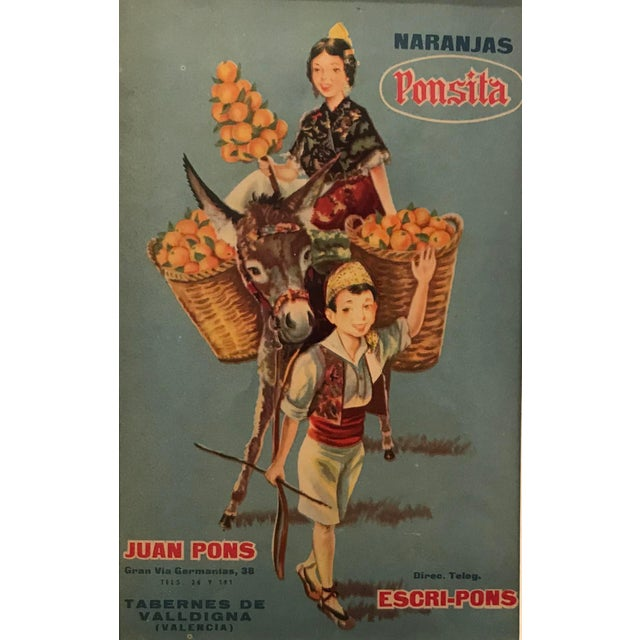 1920's Original Vintage Spanish Fruit Crate Label - Boy Leading Donkey (Naranjas Ponsita - Juan Pons - Tabernes De Valldigna) For Sale - Image 4 of 4