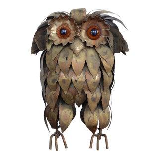 Mid Century Brutalist Metal Owl Sculpture For Sale