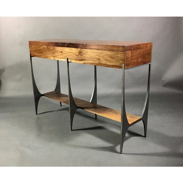 Richard Vellosso Walnut & Steel Console Table, Usa For Sale - Image 11 of 13
