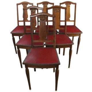 Dining Chairs Art Deco 1920 French Oak Red - Set of 6 For Sale
