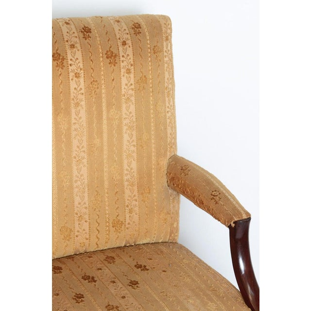 """Brass 18th Century George III Upholstered """"Gainsborough"""" Library Chair For Sale - Image 7 of 12"""