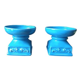Turquoise Handmade Ceramic Candle Holders - a Pair For Sale