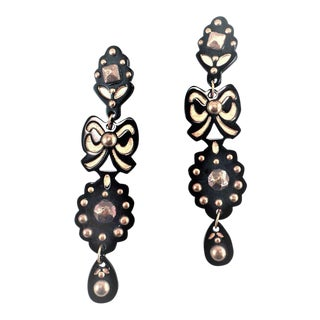 Ysl Black Galalith and Brass Shoulder Duster Earrings For Sale