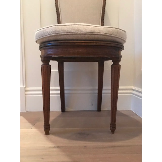 Antique Belgian Linen Dining Chairs - a Pair - Image 3 of 7