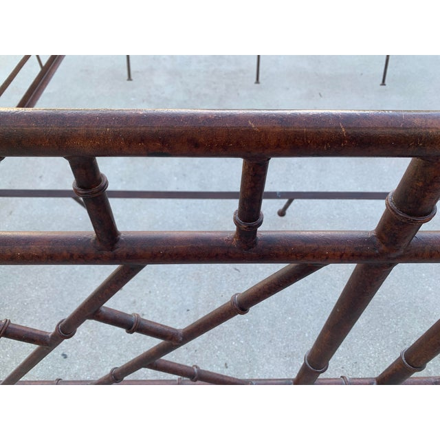 Mid 19th Century Vintage Chinese Chippendale Faux Bamboo Metal King Bed Frame For Sale - Image 5 of 10